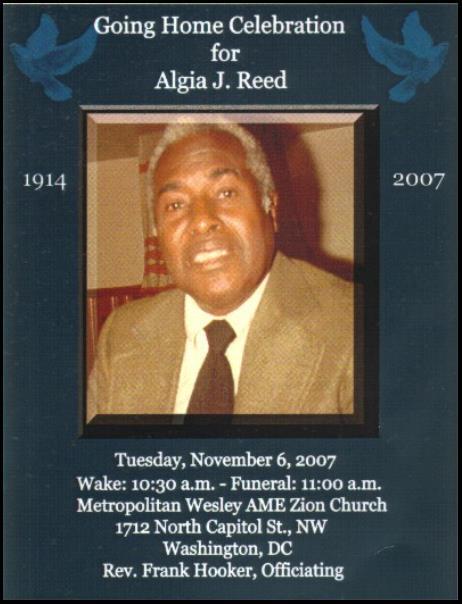 Obituary Algia J  Reed