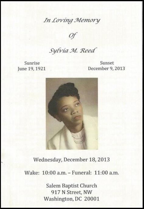 Obituary Mrs  Sylvia Reed